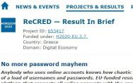 The EC's CORDIS portal writes about how ReCRED deals with the password mayhem - Κεντρική Εικόνα