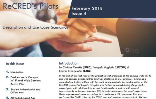 ReCRED's Newsletter About the Pilots Is Available For Download - Κεντρική Εικόνα